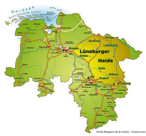 Karte der Lüneburger Heide